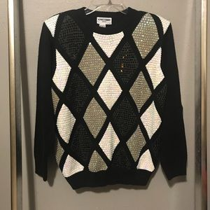 🎆Alfred Dunner VTG sequin beaded sweater black